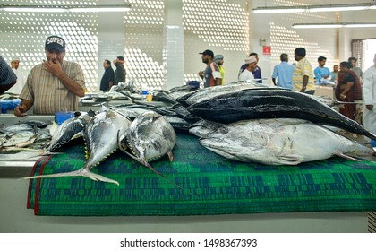 Muscat, Oman, 22 March 2018: fish market at Muttrah, town center of Muscat, Oman. Several tuna and other fish on stalls.
