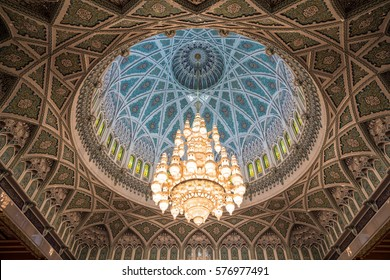 MUSCAT, OMAN -24 JAN 2017 Interior design of the Sultan Qaboos Grand Mosque on 24 January, 2017 in Muscat, Oman