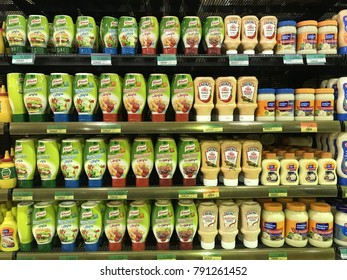 Muscat , Oman - 25 November 2017 : Assorted local and international mayonnaise displays on the supermarket shelf.