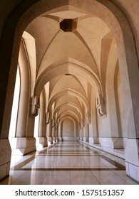 Muscat, Oman, Arabian Gulf. The exquisite marble Loggia connecting the Royal Palace with the National Museum in Muscat. Oman's staggeringly beautiful Capital. Architectural excellence