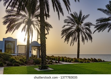 Muscat, Oman - August 17, 2018: The Chedi Muscat in Muscat, Oman at sunset.