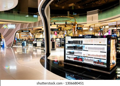 MUSCAT, OMAN - DEC 11, 2018: Duty free shops at Muscat International Airport in Oman.  Duty free shops are retail outlets that are exempt from the payment of certain local or national taxes and duties