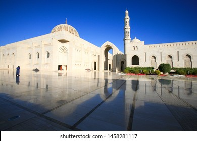 Muscat, Oman - Dec 29, 2016: The Sultan Qaboos Grand Mosque, the main Mosque in Oman, built with Indian sandstone. It can hold up to 20,000 worshipers and was inaugurated by the Sultan on May 4, 2001.