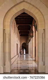 MUSCAT, OMAN, FEBRUARY 16, 2015. The contemporary architecture of Sultan Qaboos Grand Mosque is enhanced by dramatic corridors and colonnades.