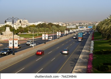 MUSCAT, OMAN, FEBRUARY 18, 2013. The highway system in Muscat is generally very modern and well maintained, as seen here on Sultan Qaboos Road.