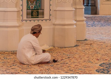 MUSCAT, OMAN - FEBRUARY 22, 2017: Local man in Sultan Qaboos Grand Mosque in Muscat, Oman