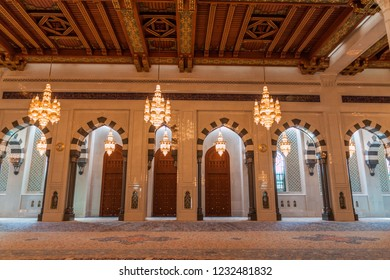 MUSCAT, OMAN - FEBRUARY 22, 2017: Interior of Sultan Qaboos Grand Mosque in Muscat, Oman