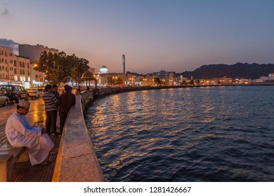 MUSCAT, OMAN - FEBRUARY 22, 2017: People at Mutrah Corniche in Muscat, Oman