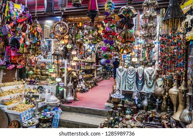 MUSCAT, OMAN - FEBRUARY 22, 2017: Shop in Muttrah souq in Muscat, Oman