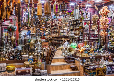 MUSCAT, OMAN - FEBRUARY 23, 2017: Shop of Muttrah souq in Muscat, Oman