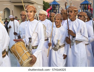 Muscat, Oman, February 4th, 2017:omani men in traditional clothing singing