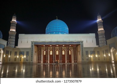 Muscat, Oman – January 1 2018 : The new Sultan Qaboos grand mosque near Sohar ,oman.