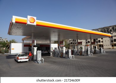 MUSCAT, OMAN - JUNE 11: Shell petrol station in Muttrah. June 11, 2011 in Muttrah, Sultanate of Oman, Middle East