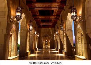 Muscat, Oman - March 2010: Sultan Qaboos Grand Mosque, is the biggest mosque in Oman, interior mainly built with Indian sandstone and it has the world's Second largest hand-woven carpet.