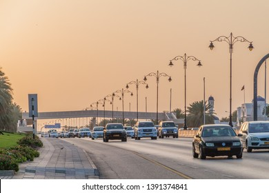 MUSCAT, OMAN - MARCH 6, 2017: Traffic on Sultan Qaboos street in Muscat, Oman