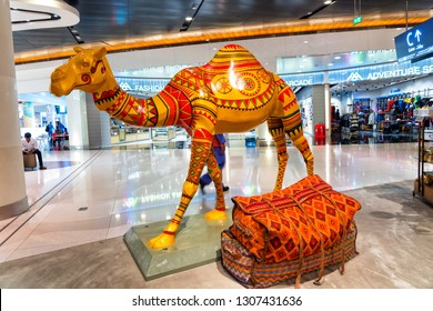 MUSCAT, OMAN - NOV 22, 2018: Beautiful came souvenir sold in the duty free zone at Muscat International Airport, Oman