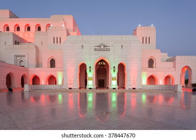 MUSCAT, OMAN - NOV 27, 2015: The Royal Opera House (ROHM) in Muscat illuminated at night. Sultanate of Oman, Middle East