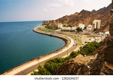 Muscat, Oman - November 1, 2018: waterfront road under the Corniche of Mutrah in Muscat with cars