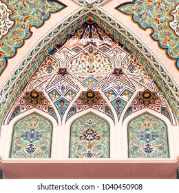 MUSCAT, OMAN - NOVEMBER 30, 2017: colorful mosaic decorations in Sultan Qaboos Grand Mosque in Muscat, Oman