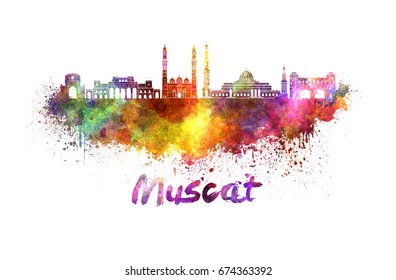 Muscat skyline in watercolor splatters with clipping path