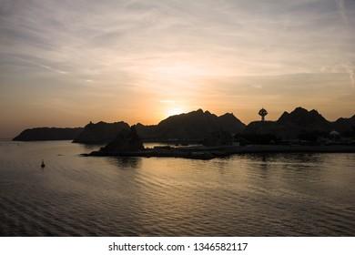 Muscat sunrise mountain sea view, Oman