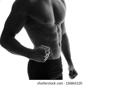 Muscle man isolated on white