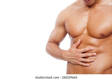 Muscle man with stomach pain, isolated on white background