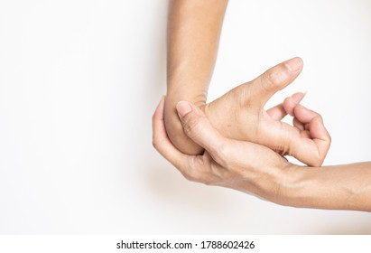 muscle old hands on the skin, wrinkled, spastic symptoms On a white background