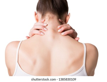 Muscle spasm, neck, trapezoid and shoulders pain. Female back in white top. Woman put her fingers on sore spots, isolated on white. Pain, injury, medicine, massage, spine, sedentary lifestyle, help
