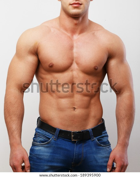 Naked Young Man Desk Posing Hand Stock Photo (Edit Now