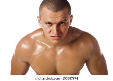 Muscled male model bodybuilder anger
