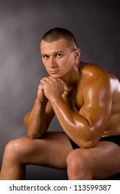 Muscled male model bodybuilder muscle