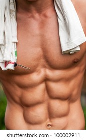 Muscled male torso with low body fat