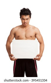 Muscular Asian man with blank sign  isolated on white background
