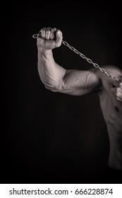 Muscular athletic bodybuilder fitness model