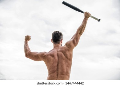 muscular back man isolated on white. man with baseball bat. i am a criminal. Hooligan man hits the bat. Bandit gang and conflict. full of energy. sport activity and game.
