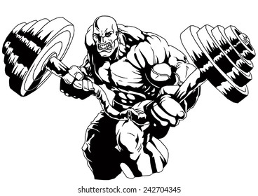 muscular bald bodybuilder flex  weight,illustration,black and white,drawing,outline
