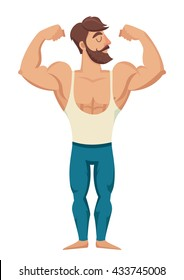 Muscular bearded man illustration. Fitness models, posing, bodybuilding. Isolated on white background. Gym man in red shorts cartoon style. Bodybuilding character on gym