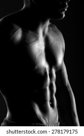 muscular body, abdominal muscle , pectoral muscle, black and white photo