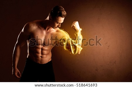 Muscular body builder lifting