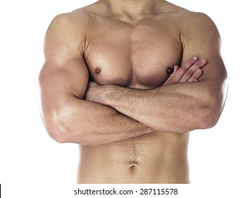 Muscular body of sportsman. Horizontal close-up photo
