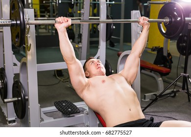 Weightlifter Bench Press Lifting Barbell On Stock Photo Edit Now