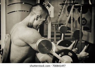 Muscular bodybuilder in the gym