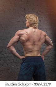 Muscular bodybuilder man. Man with large muscles of the body on a gray brick wall background. Handsome power athletic man. Male - view from the back. Copy space for text. Posters, advertising for gym.