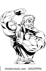 muscular bodybuilder in the t-shirt shows big biceps,illustration,black and white,drawing,outline