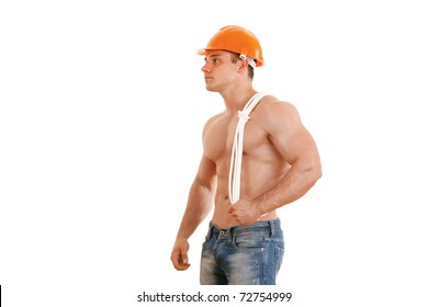 Muscular construction worker with rope