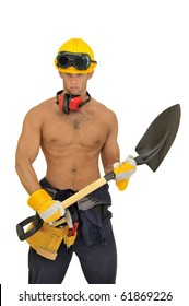 Muscular construction worker with shovel posing isolated in white