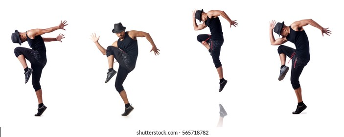 Muscular dancer isolated on white