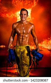Muscular fire fighter sweating man, peak physical condition. gym.