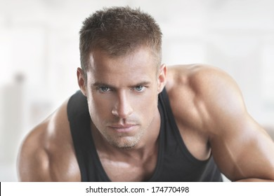 Muscular fit male model portrait